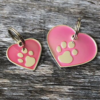 Pink And Silver Heart Pet ID Tag