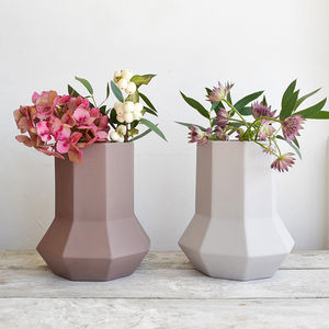 Tall Geometric Ceramic Vase - vases