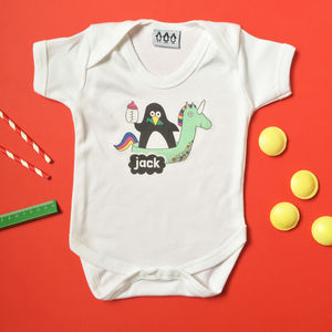 Personalised Penguin Babygrow - clothing