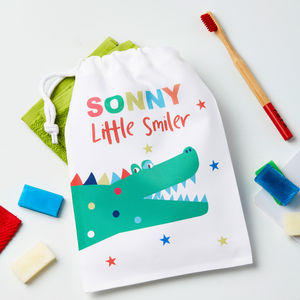 Boys Personalised Crocodile Wash Bag