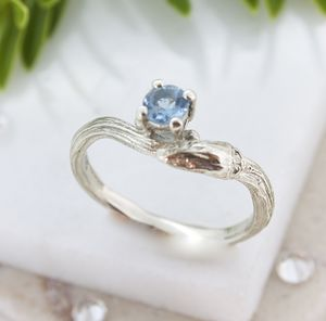 Aquamarine Twig Engagement Ring, March Birthstone Ring - engagement rings