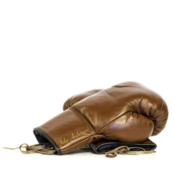 Personalised Leather Boxing Gloves Brown