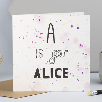 Personalised New Baby Card With Initial And Name