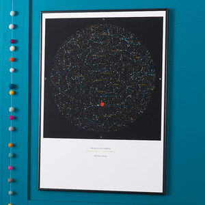 Personalised Map Of The Stars Print - 40th birthday