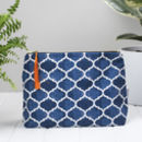 Isabel Toiletry Bag, Geometric Blue Pattern Wash Bag