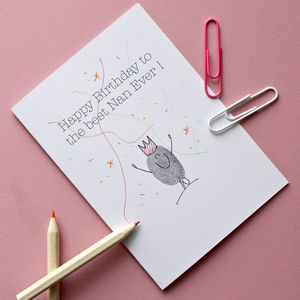 Nanny Thumb Print Birthday Card