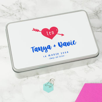 Personalised Love Heart 10th Anniversary Tin