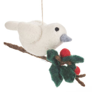 Handmade Felt Birds With Holly Branch