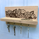 Personalised Rose Oak Key Holder