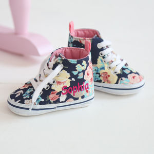 Personalised Navy Floral High Tops - our favourites at 50% off