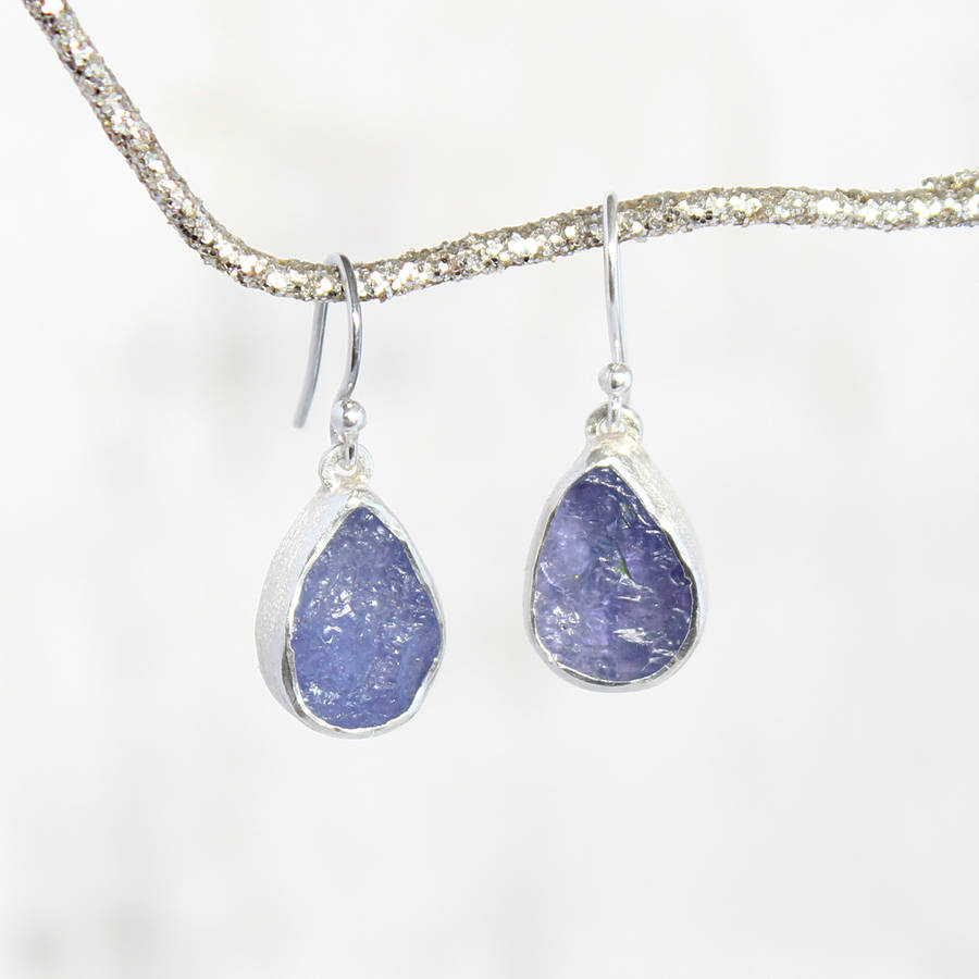 Tanzanite December Birthstone Ladies Silver Earrings
