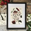 Vintage Love Botanical Personalised Print