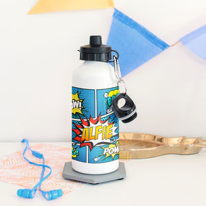 Children's Personalised Comic Waterbottle - camping