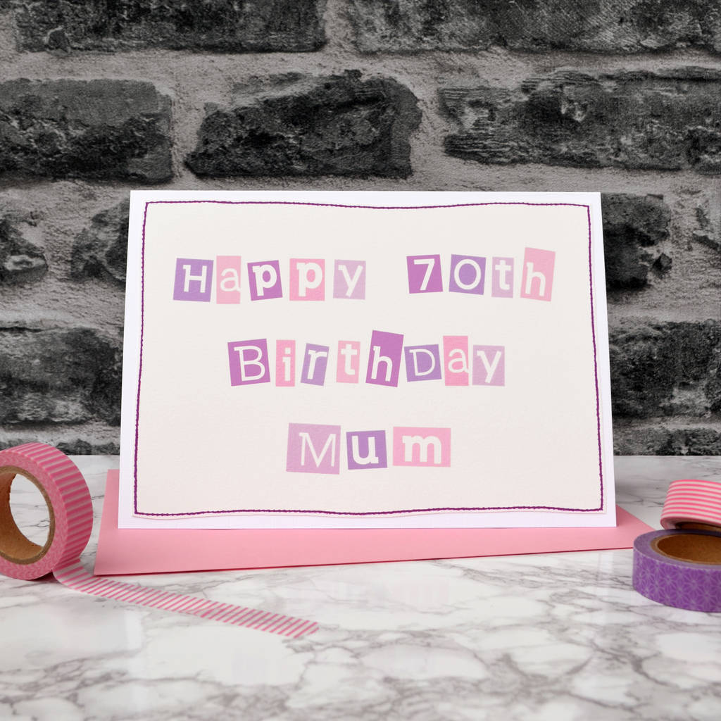 Personalised Female 70th Birthday Card