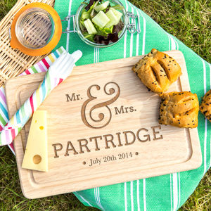 Personalised Wedding Engraved Chopping Board - cheese boards & knives