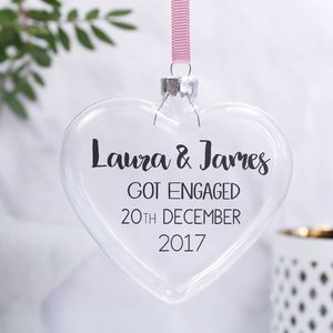 Personalised 'Engagement' Flat Heart Bauble - hanging decorations