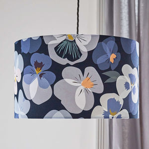 Blue Floral Pansy Lampshade - lighting