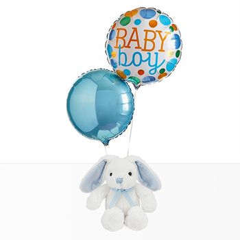 Welcome Baby Balloons With Little Blue Bunny Gift