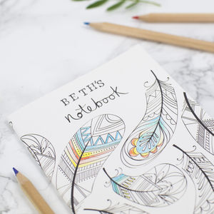 Set Of Three A6 Personalised Colouring In Notebooks