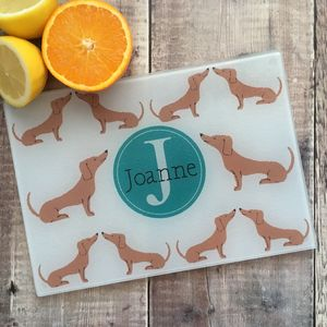 Dachshund Personalised Glass Chopping Board