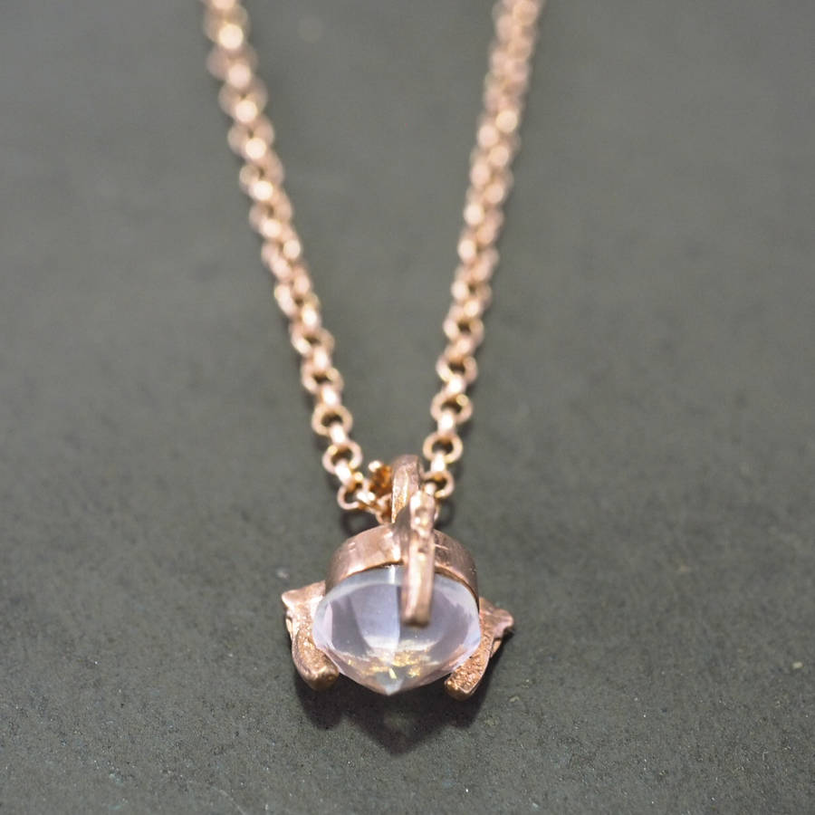 Very tiny twinkle in the wild rose quartz necklace by chupi  UJ99