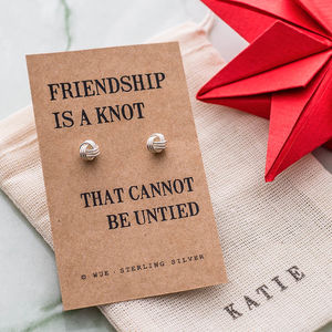 Friendship Knot Silver Earrings - personalised gifts