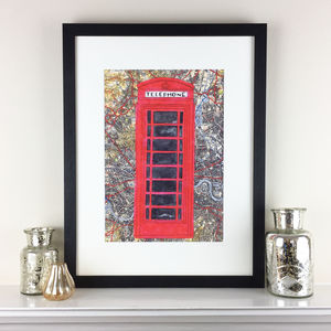 Red Phone Box On London Map Limited Edition Print