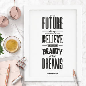 'The Beauty Of Their Dreams' Typography Print - winter sale