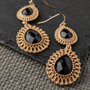 Black Filigree Drop Earrings