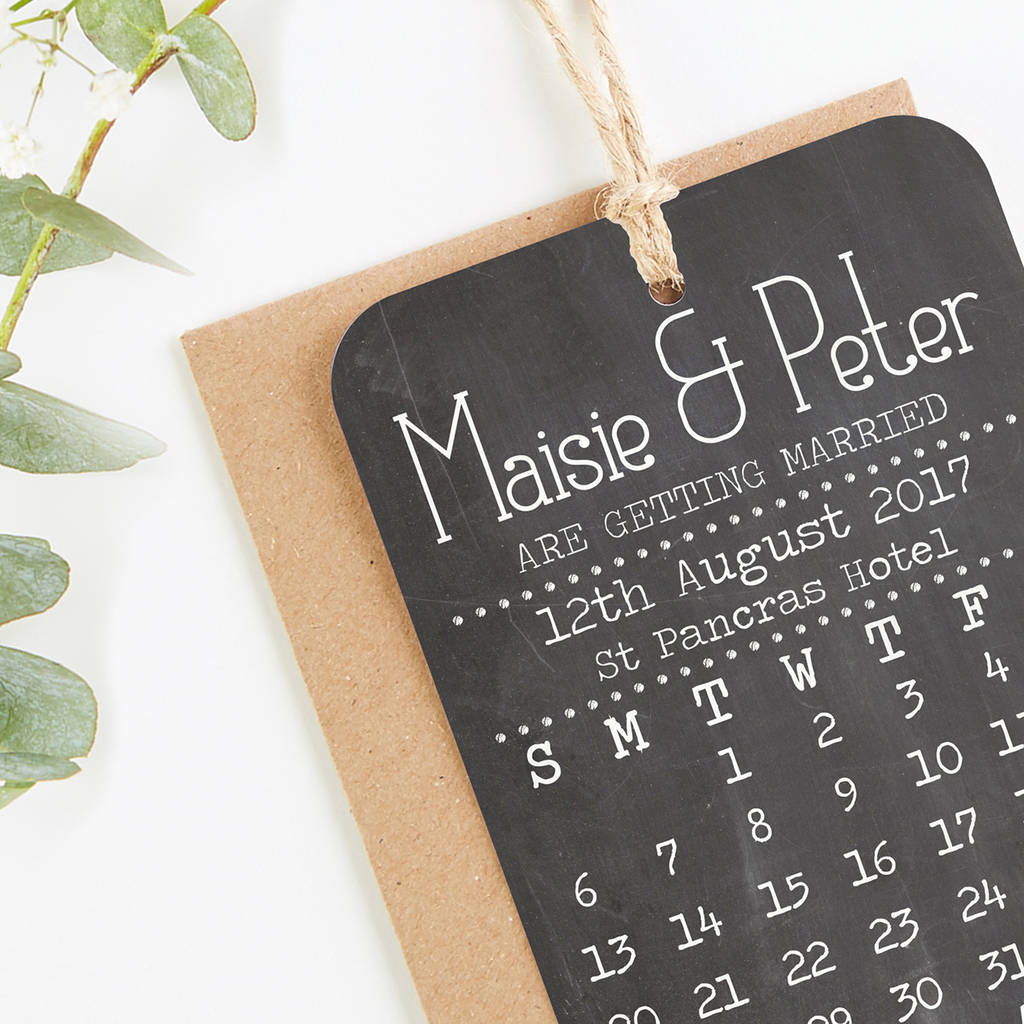 Save The Date Cards Chalkboard Calendar By Norma Dorothy