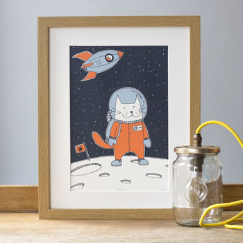 'Space Cat' A4 Cat Print Screen Print