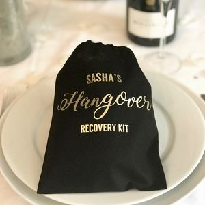 Gold Hangover Kit - favour bags, bottles & boxes