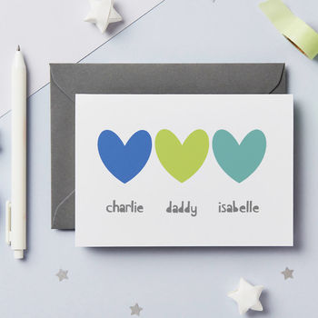 Personalised Sibling Heart Father's Day Card