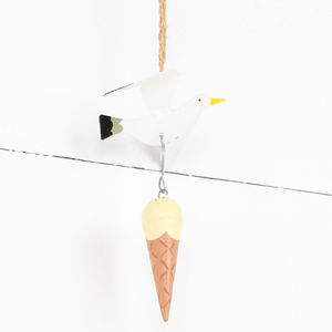 Hanging Seagull With Stolen Ice Cream Cone Decoration