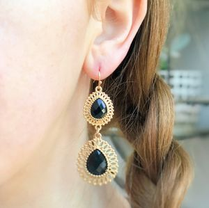 Black Jewel Filigree Teardrop Earrings