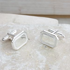 Silver Textured Cuff Links