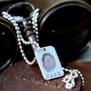 Fingerprint Tag Mens Chain - men's jewellery