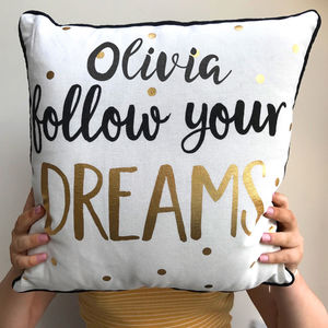 Personalised Follow Your Dreams Cushion - baby's room