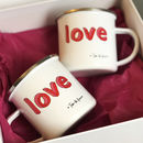 Mr And Mrs 'Love' Enamel Mug Set With Couples Names