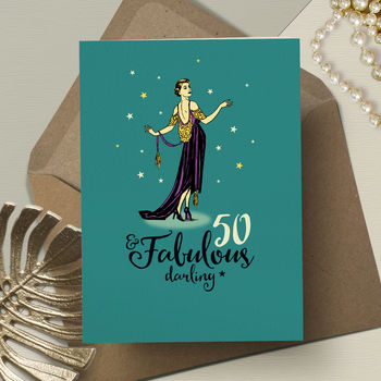 50th And Fabulous Happy Birthday Card