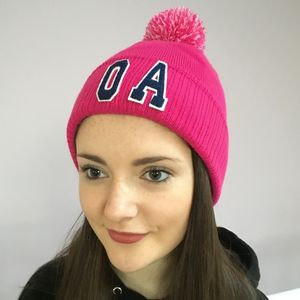 Personalised Pink Bobble Hat With Initials - hats & gloves