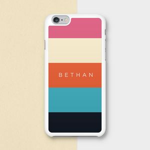 Coloured Stripes Personalised Name Phone Case