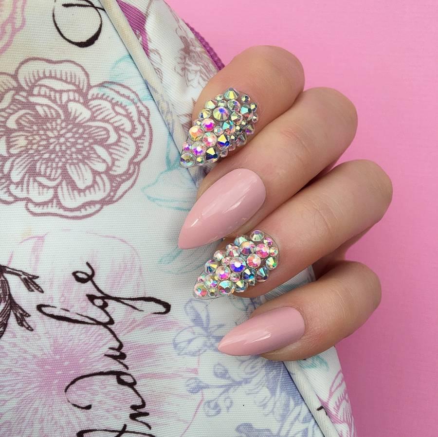 Diamante Ring Finger False Nails