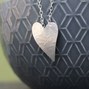 Sterling Silver Watercolour Leaf Heart Pendant