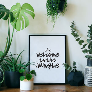 'Welcome To The Jungle' Typographic Giclée Print - shop by subject