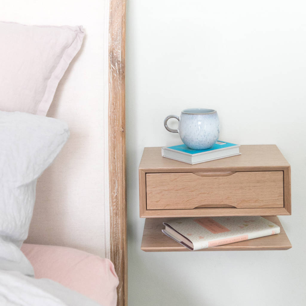 oak floating bedside table with drawer and shelf