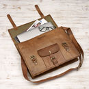 Personalised Vintage Leather Satchel / Laptop Bag - Under Flap
