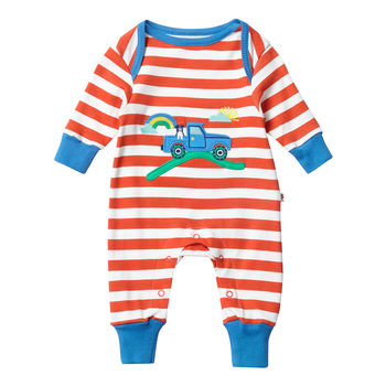 Unisex Red Farm Themed Applique Baby Playsuit