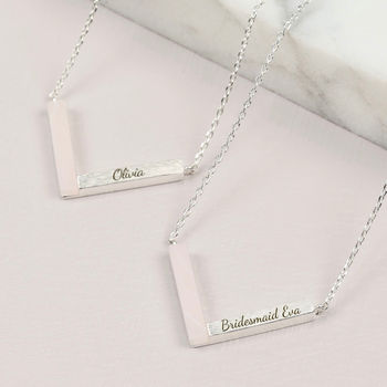 Personalised Rose Quartz Chevron Bridesmaid Necklace
