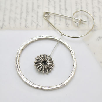 Sea Urchin Silver Plated Swirl Pin Brooch